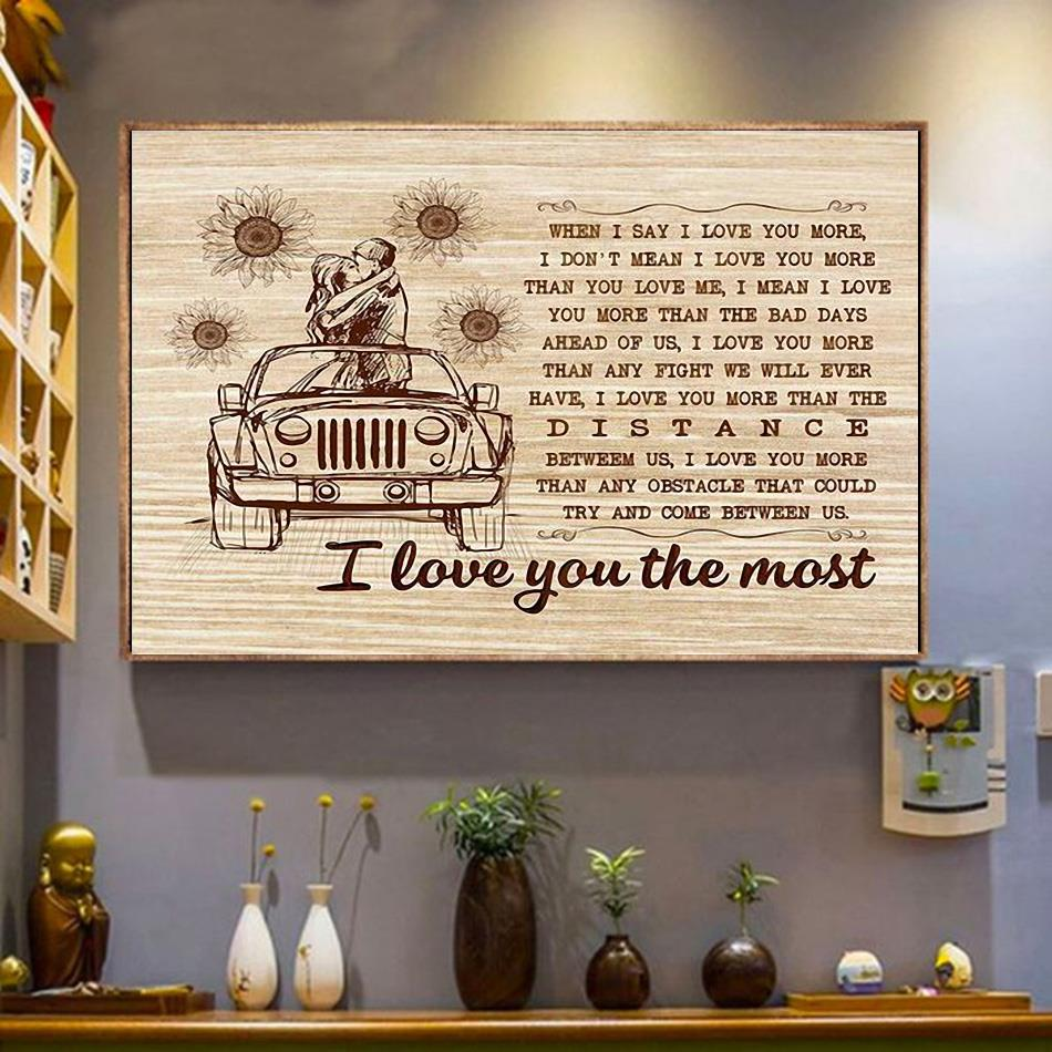 I love you the most wall canvas wrapped canvas