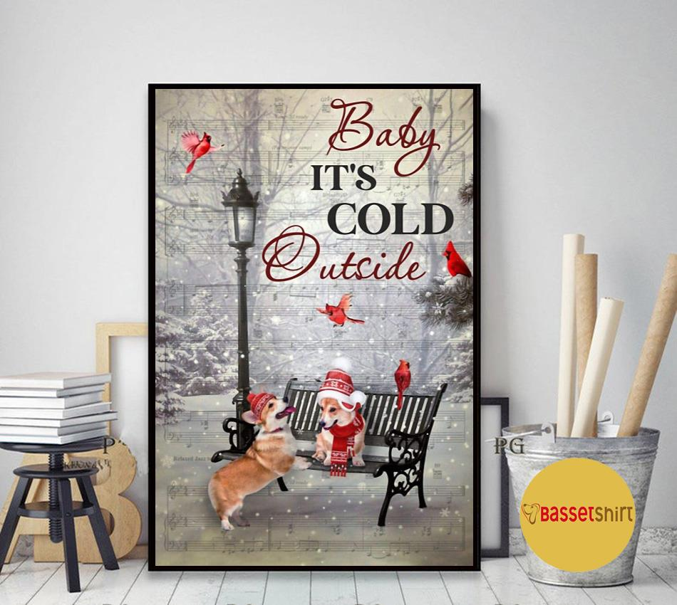 It's cold outside corgi vertical poster art decor