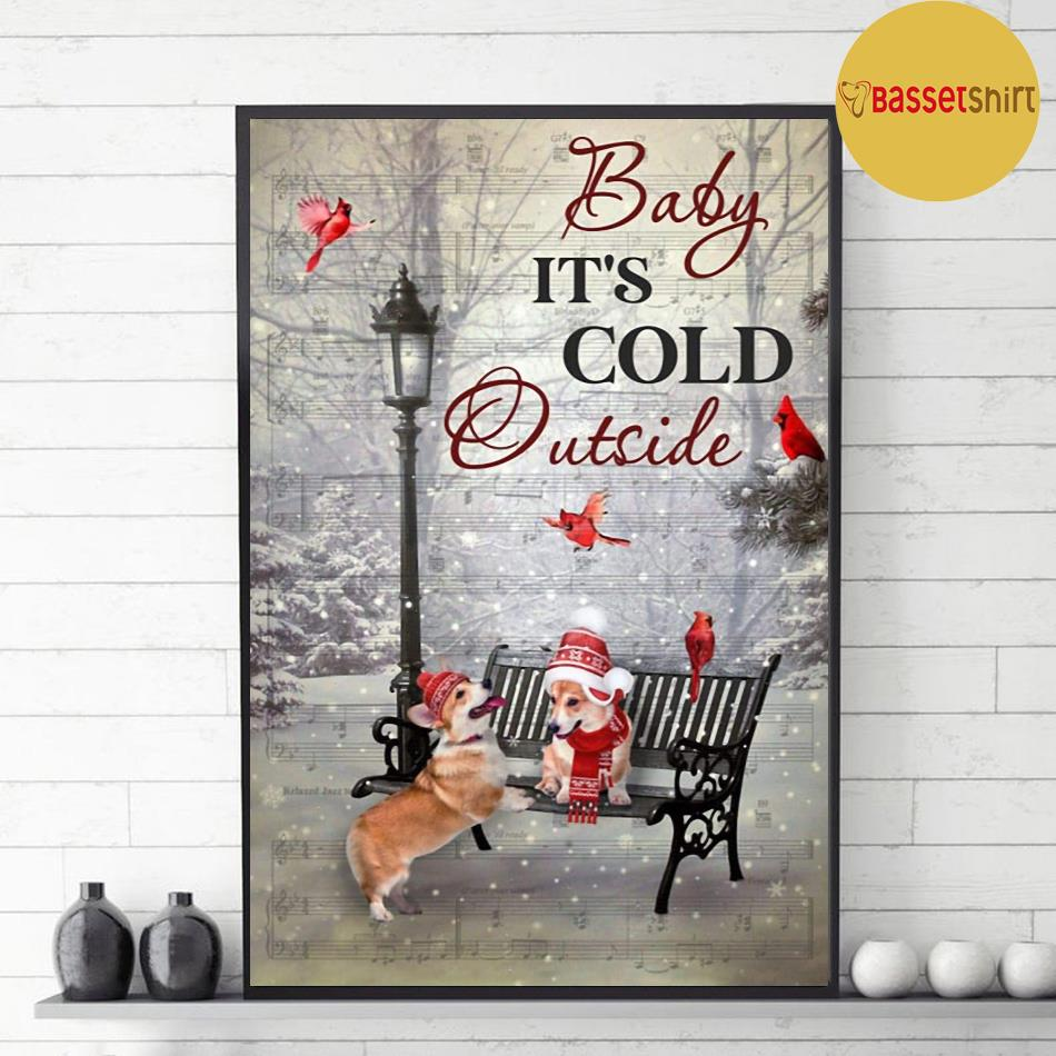 It's cold outside corgi vertical poster decor 1