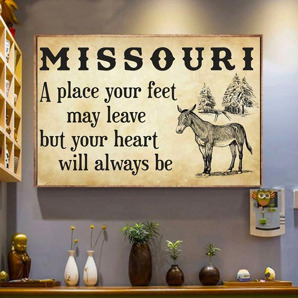 Missouri a place your feet may leave but you heart will always be canvas wrapped canvas