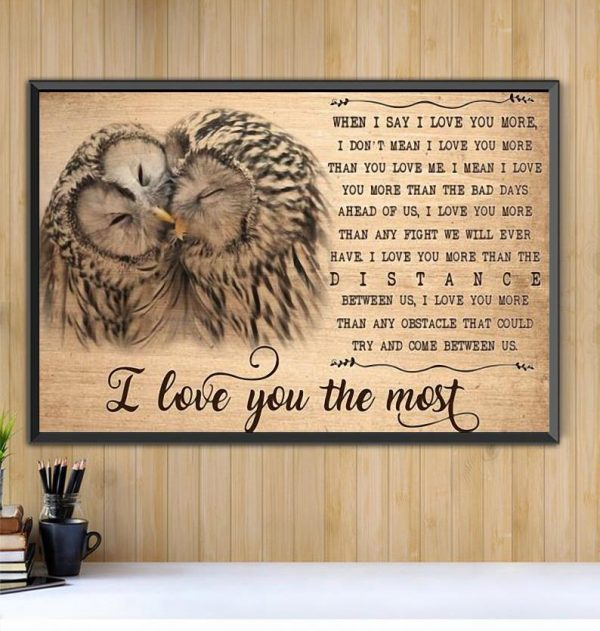 Owl I love you the most canvas Black canvas