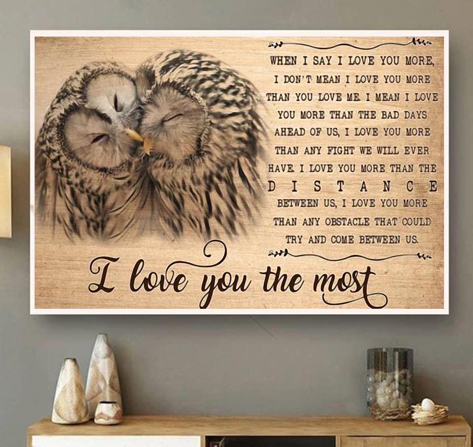 Owl I love you the most canvas wall art