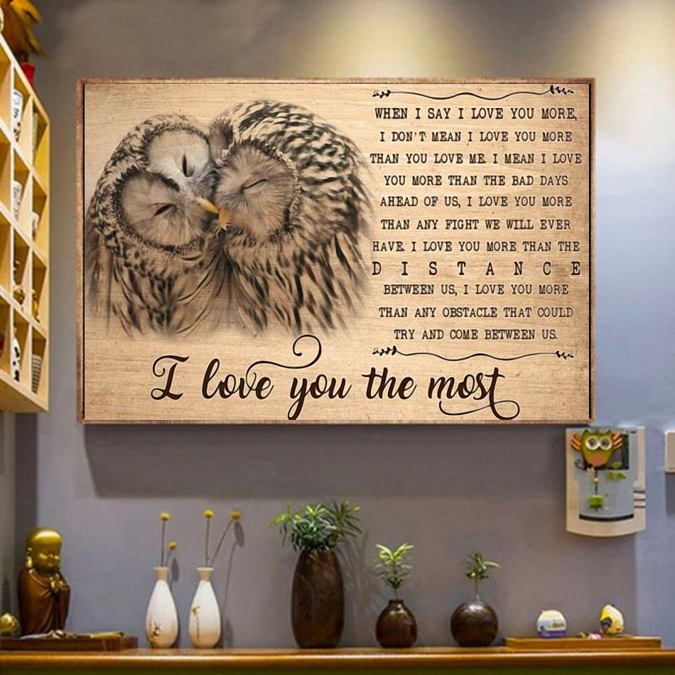 Owl I love you the most canvas wrapped canvas