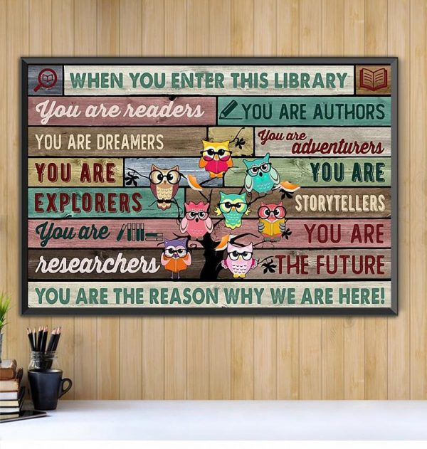 Owl when you enter this library print canvas Black canvas
