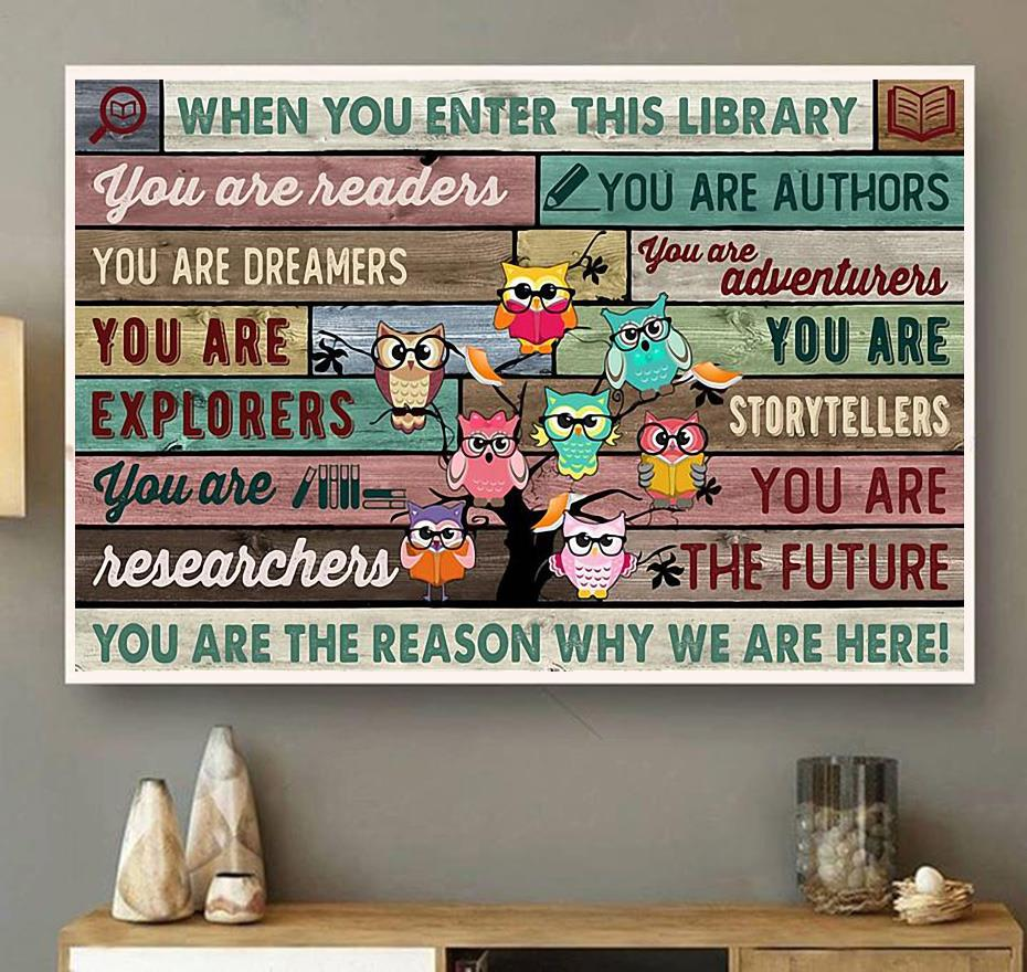 Owl when you enter this library print canvas wall art