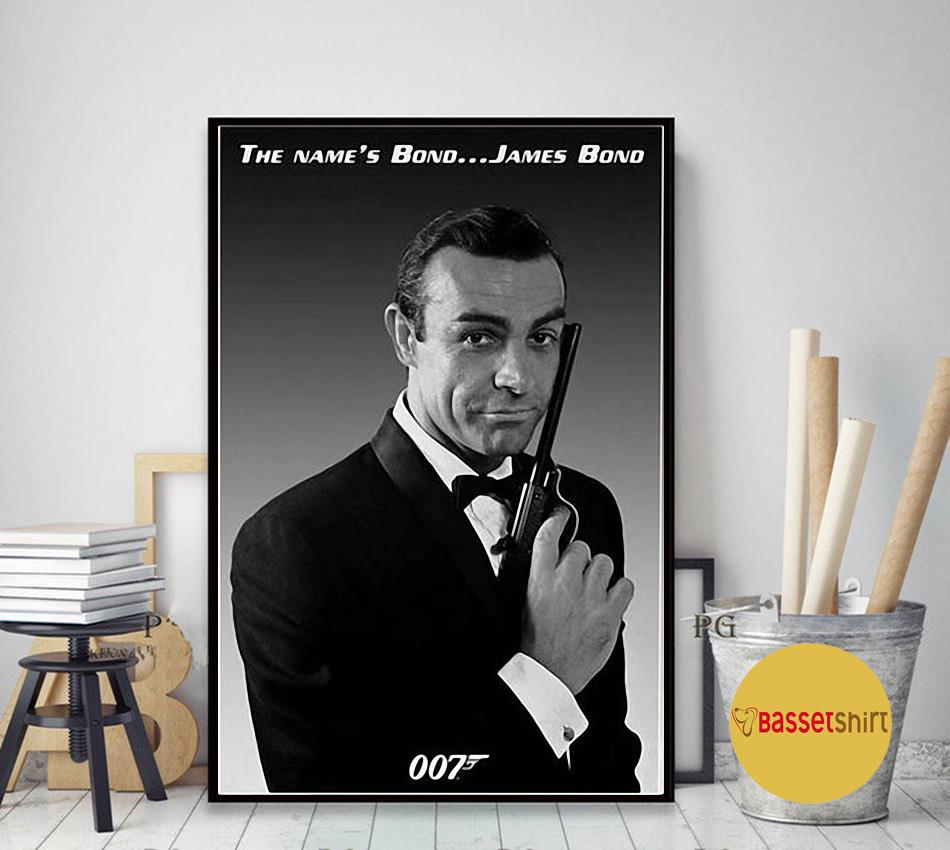Sean Connery Poster Actor Black and White Young Canvas art decor
