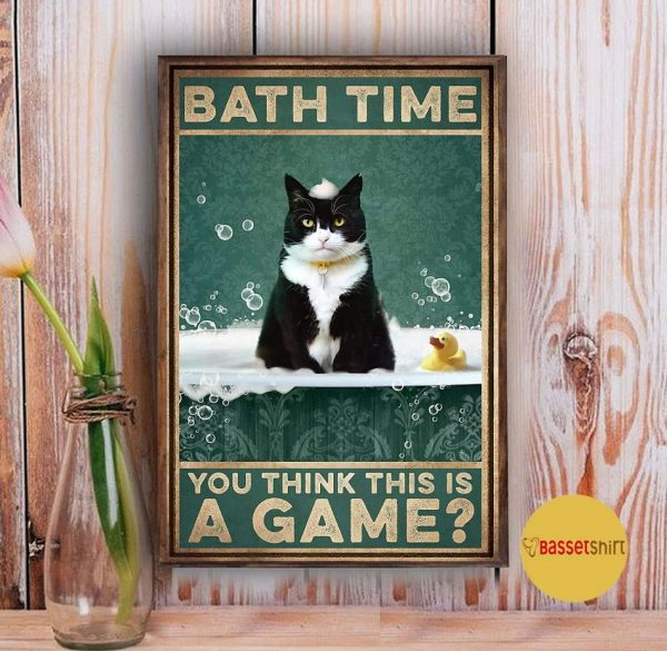 Tuxedu cat bath time you think this is a game poster Vintage