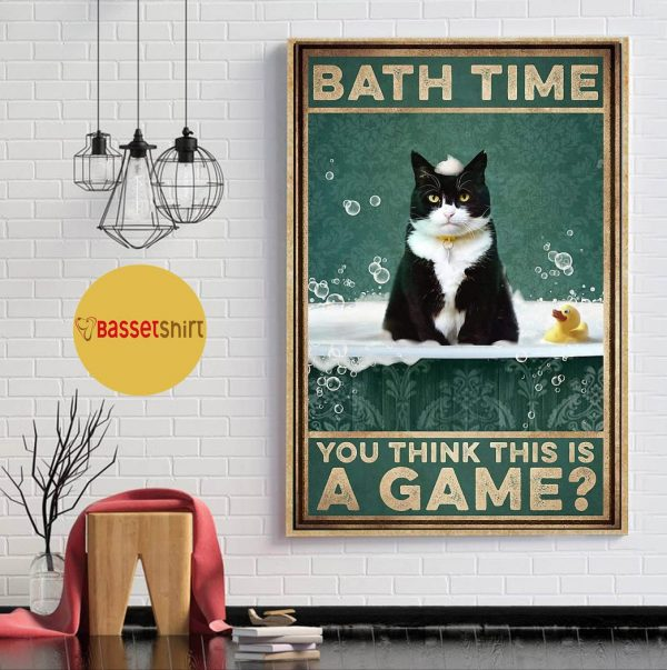 Tuxedu cat bath time you think this is a game poster