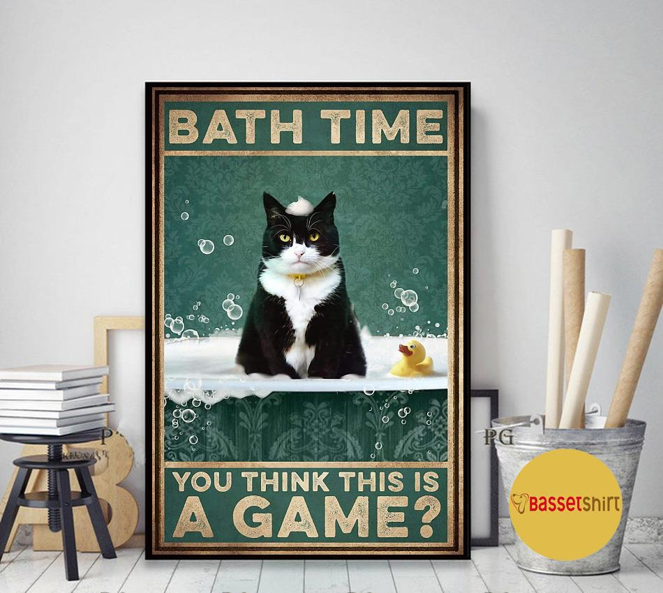 Tuxedu cat bath time you think this is a game poster art decor
