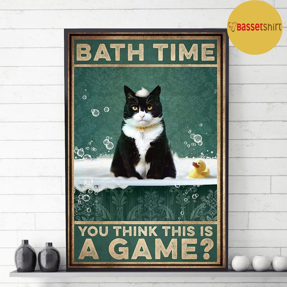 Tuxedu cat bath time you think this is a game poster decor 1