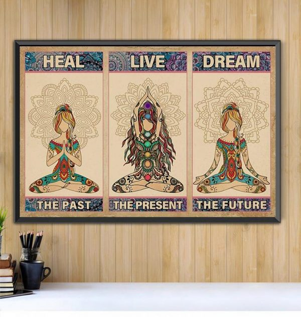 Yoga heal the past live the present dream the future horizontal canvas Black canvas