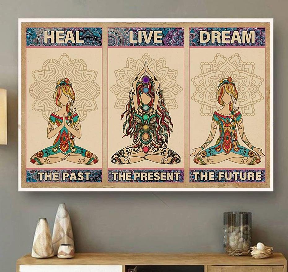 Yoga heal the past live the present dream the future horizontal canvas wall art