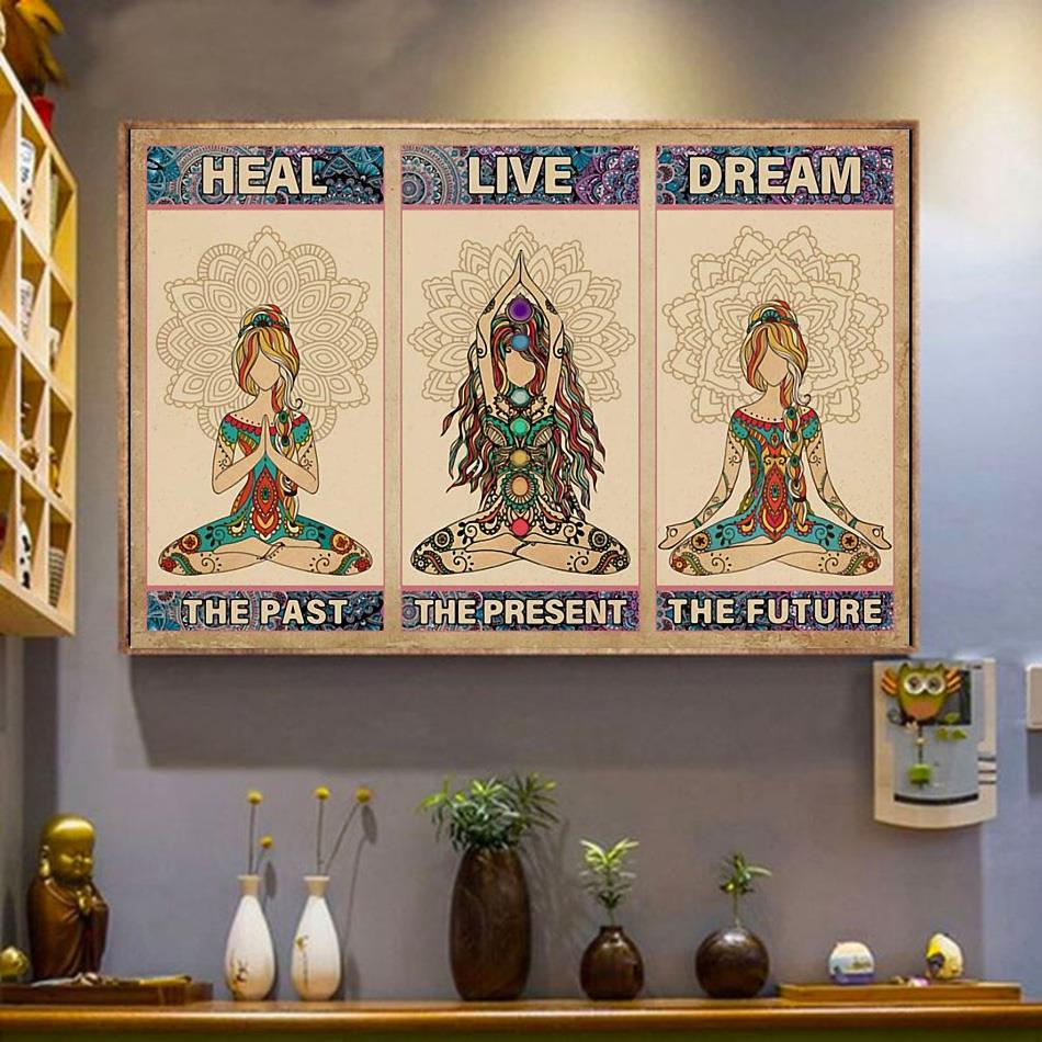 Yoga heal the past live the present dream the future horizontal canvas wrapped canvas