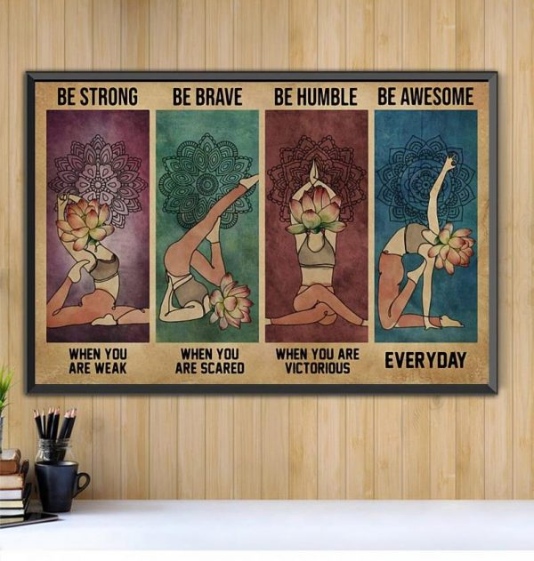 Yoga Lotus be strong be brave be humble be badass horizontal canvas Black canvas
