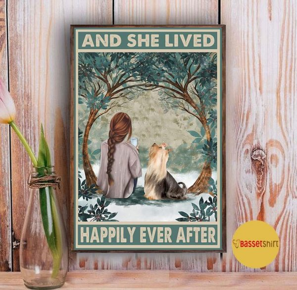 Yorkshire Terrier and she lived happily ever after poster Vintage