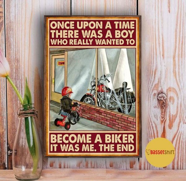 A boy who really wanted to become a biker vertical poster Vintage