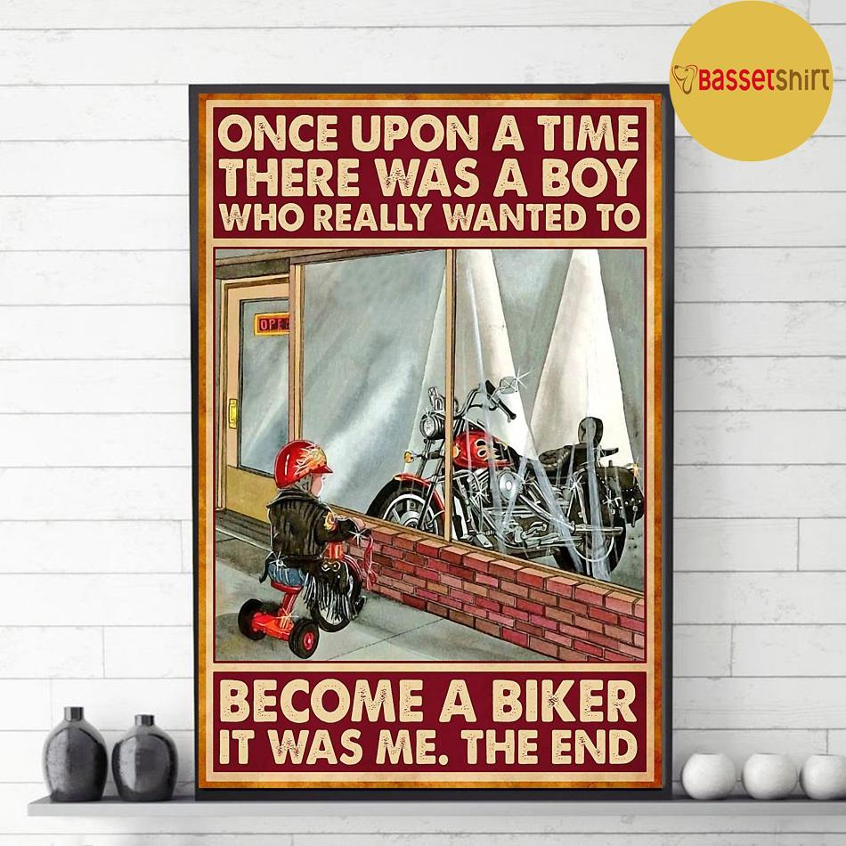 A boy who really wanted to become a biker vertical poster decor
