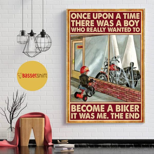 A boy who really wanted to become a biker vertical poster