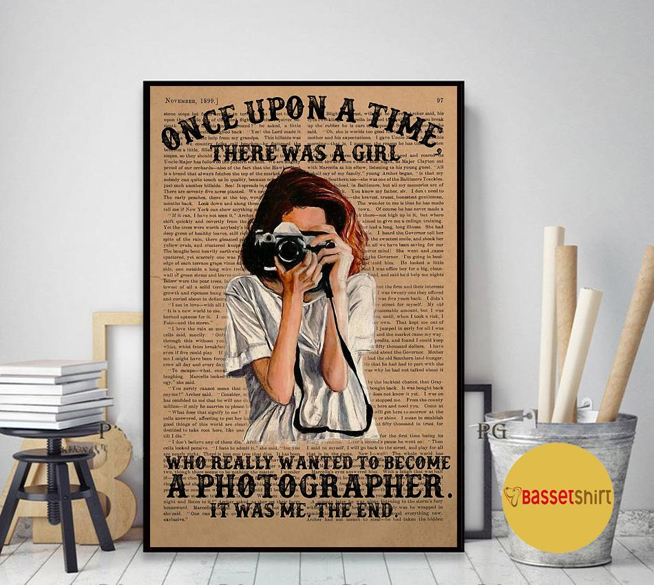 A girl wanted become a photographer poster art decor