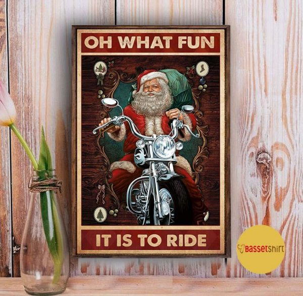 Christmas Santa motorcycle oh what fun it is to ride poster Vintage