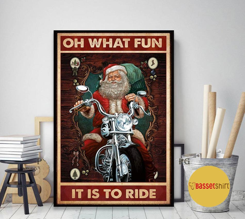 Christmas Santa motorcycle oh what fun it is to ride poster art decor