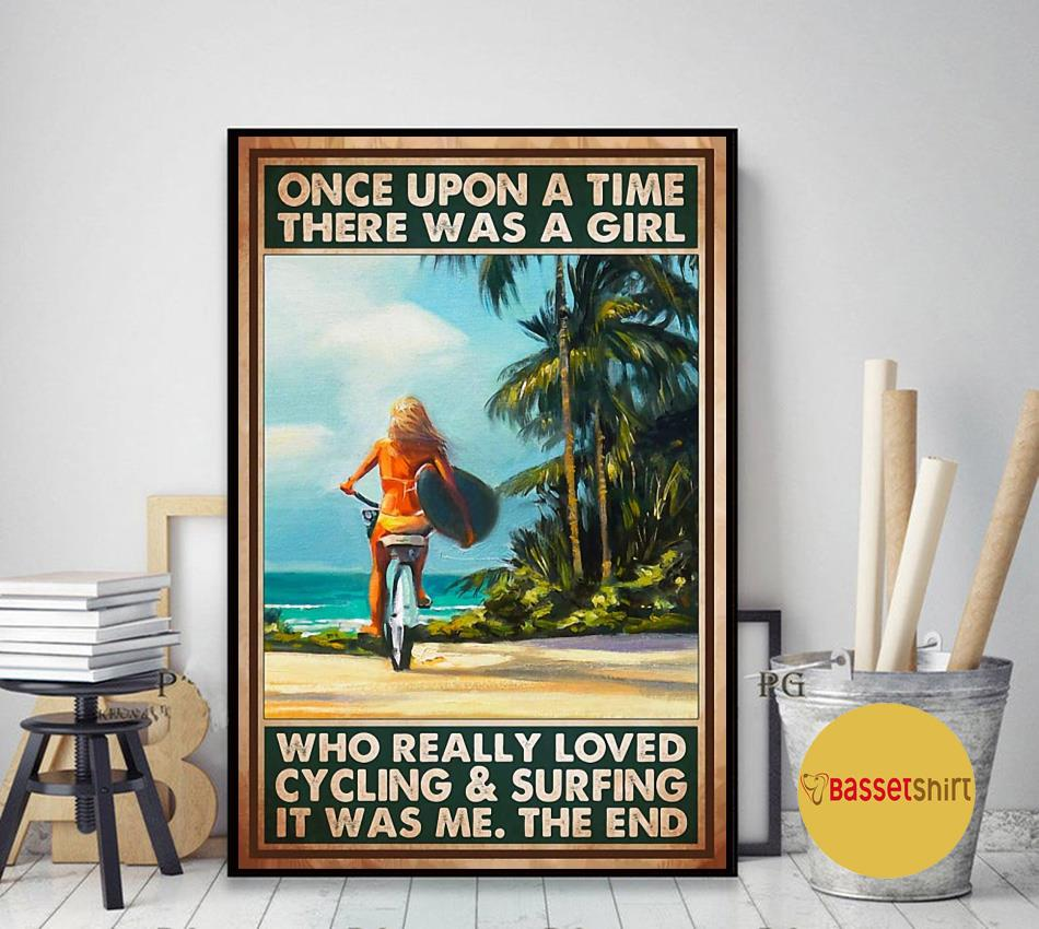 A girl who loved cycling and surfing vertical poster art decor
