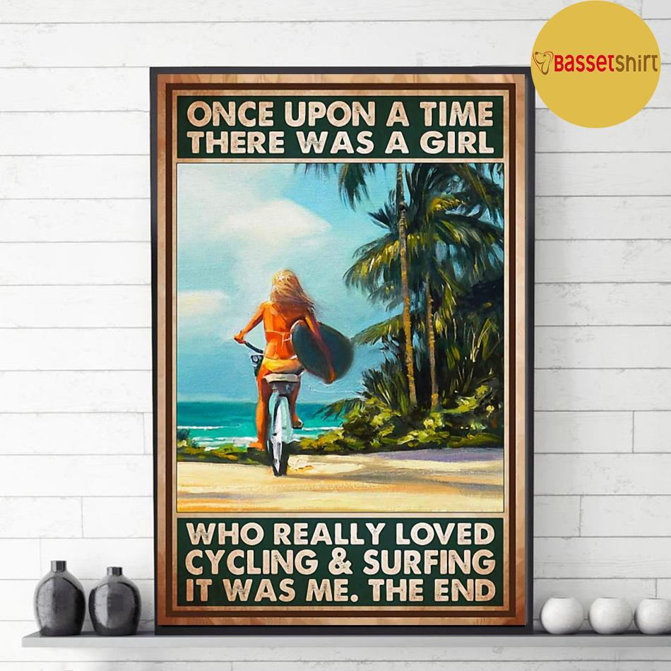 A girl who loved cycling and surfing vertical poster decor