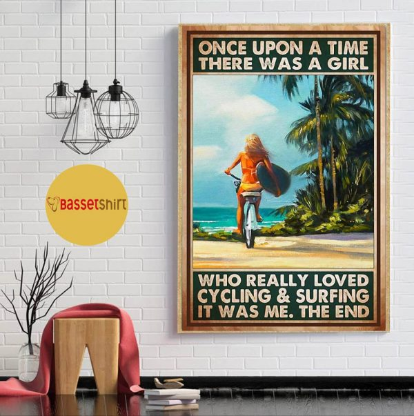 A girl who loved cycling and surfing vertical poster