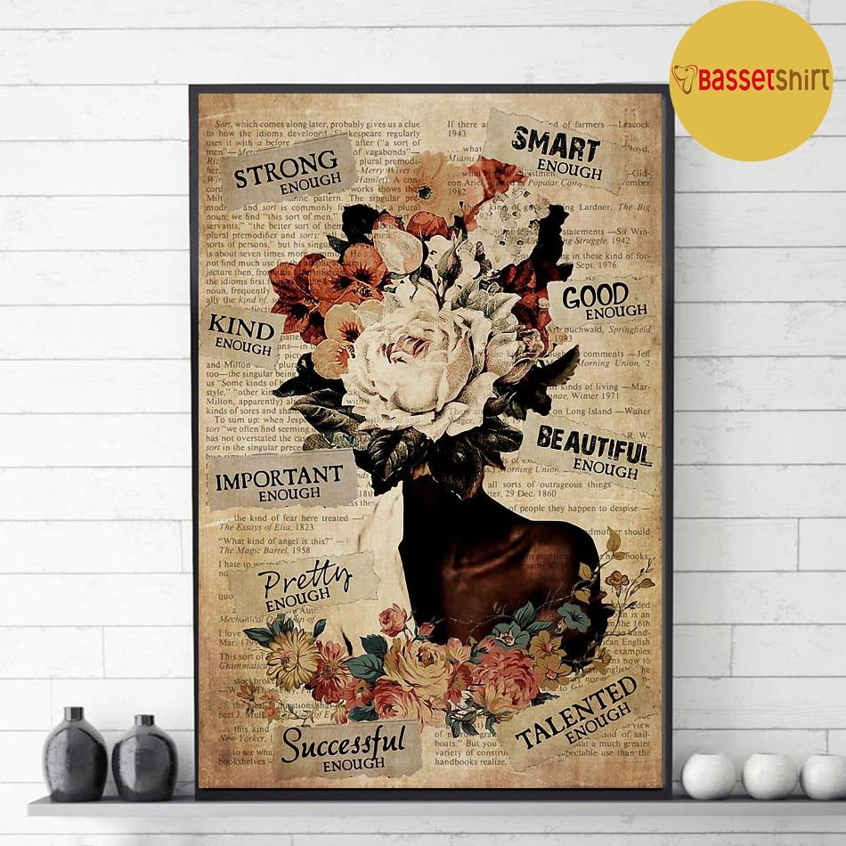 African American Woman flower poster decor