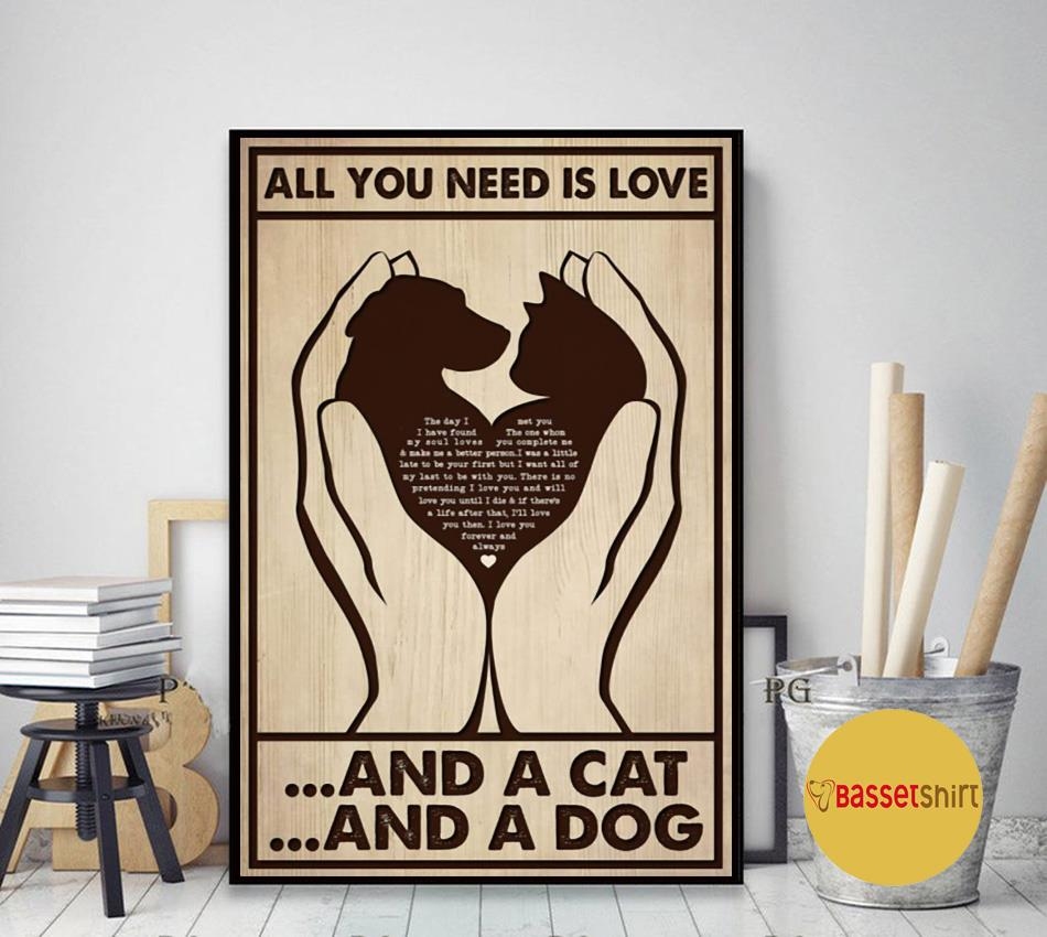 All you need is cats and dogs vertical poster art decor
