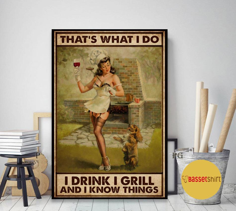 BBQ girl I drink I grill and I know things poster art decor