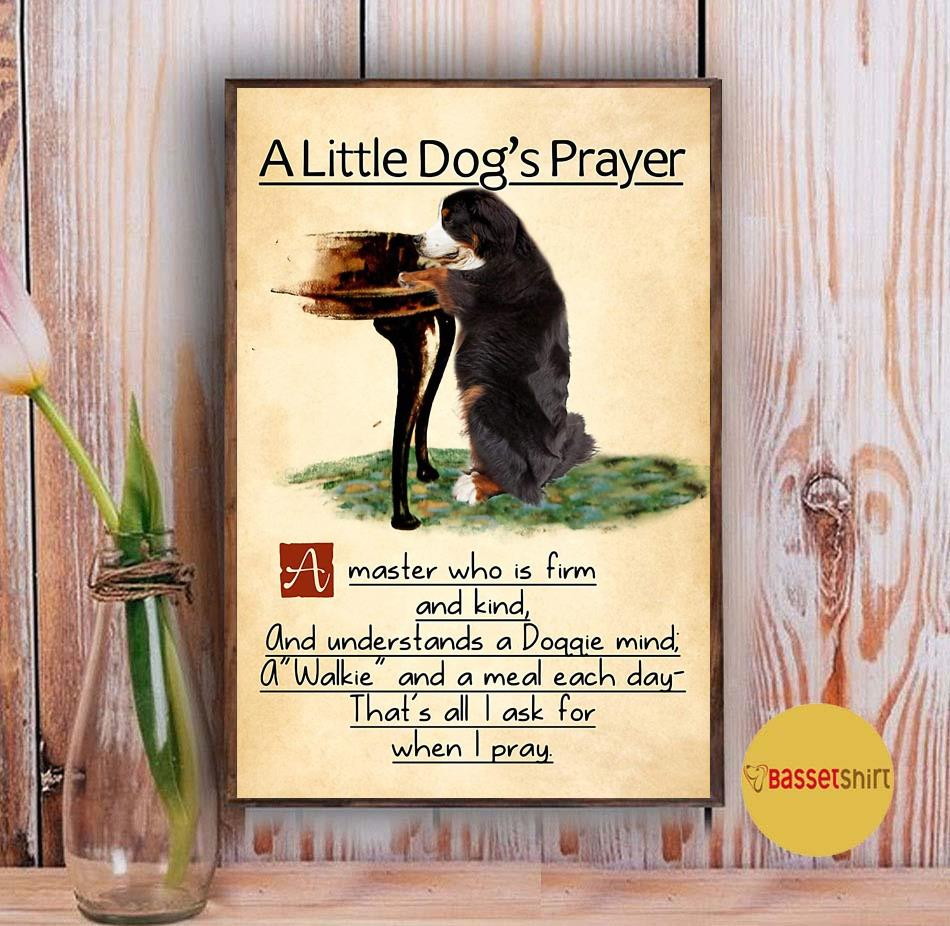 Bernese mountain a little dog's praye poster Vintage