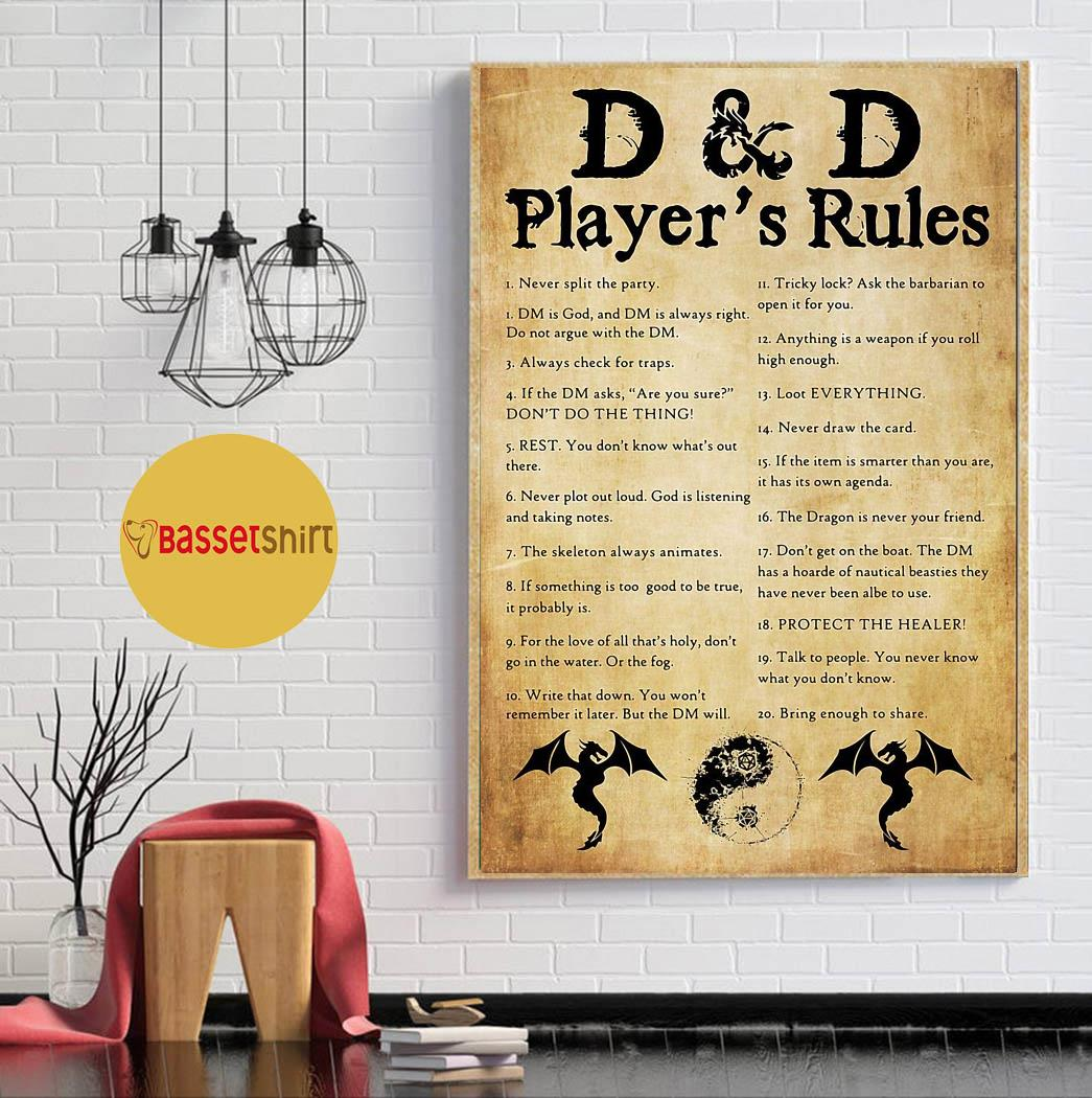 D and D player's rules vintage art poster