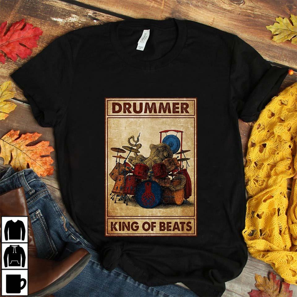 Drummer king of beats poster unisex t-shirt