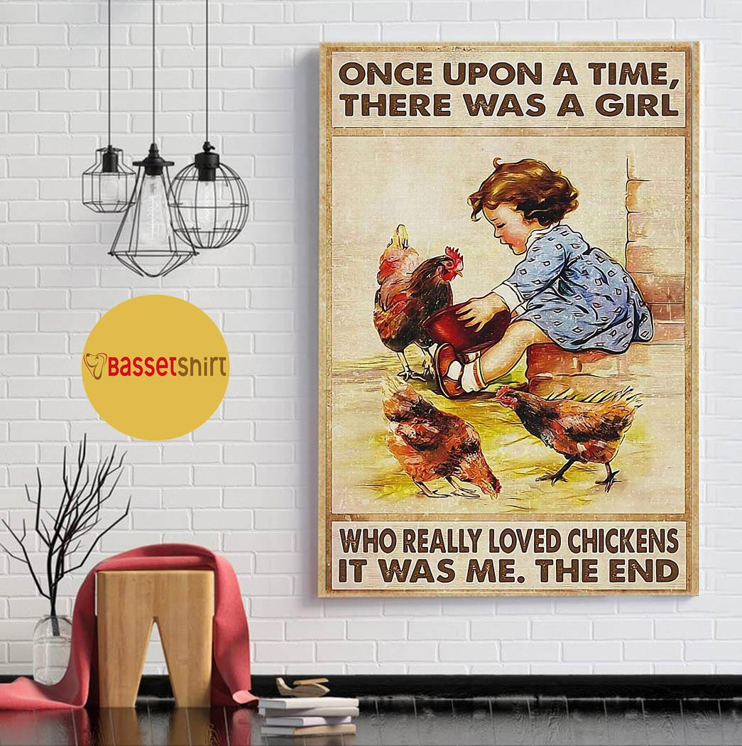 Farmer a girl who really loved chickens in farm poster