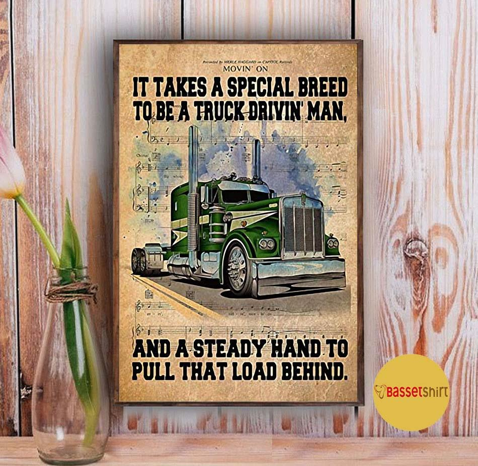 It takes a special breed to be a truck drivin man poster canvas Vintage