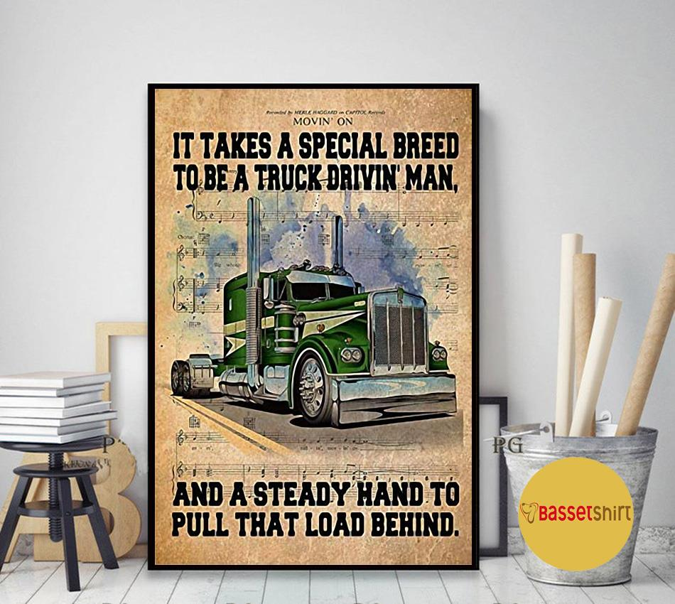 It takes a special breed to be a truck drivin man poster canvas art decor