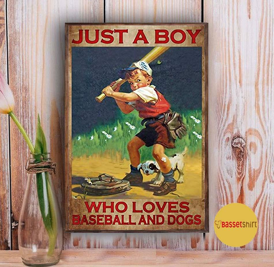 Just a boy who loves baseball and dogs poster Vintage