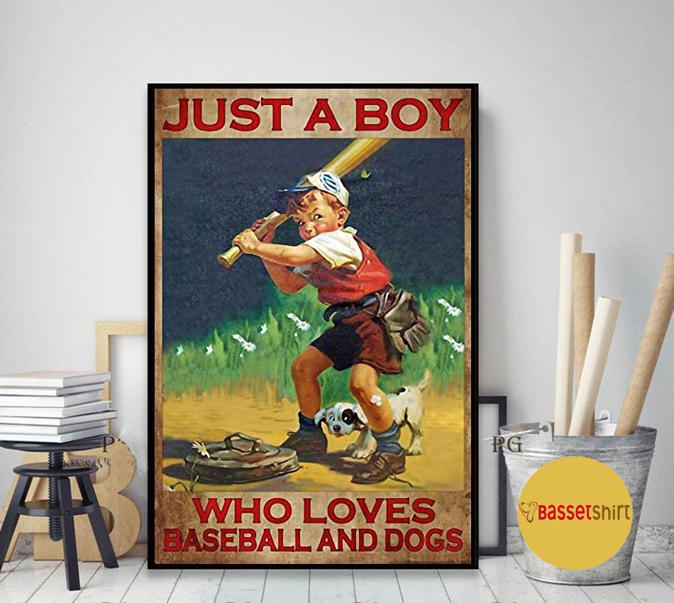 Just a boy who loves baseball and dogs poster art decor