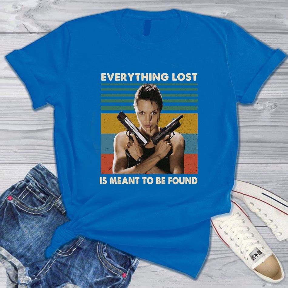 Lara Croft everything lost is meant to be found vintage t-s blue