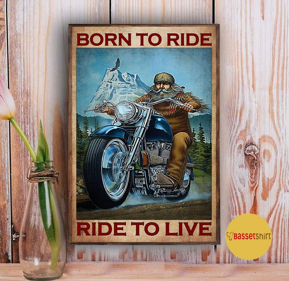 Motorcycle mountain born to ride ride to live poster Vintage