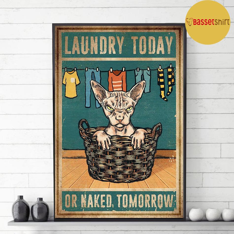 Sphynx cat laundry today or naked tomorrow poster decor