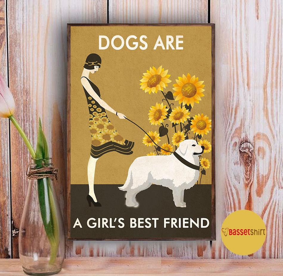 Sunflower dogs are a girl's best friend poster Vintage