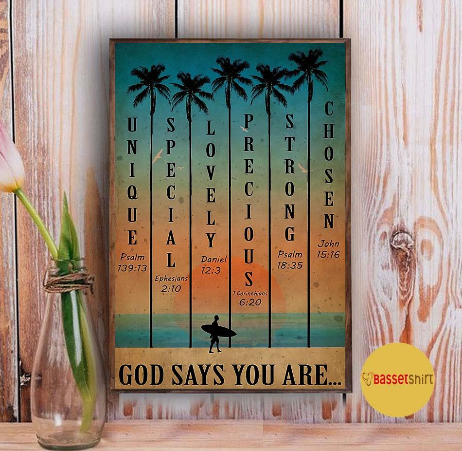 Surfing sunset beach god says you are poster Vintage