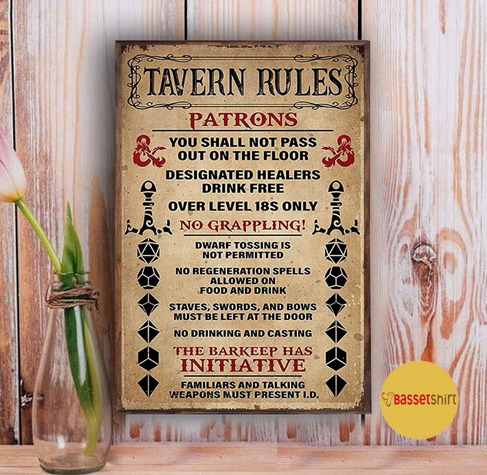 Tavern Rules Patrons poster canvas Vintage