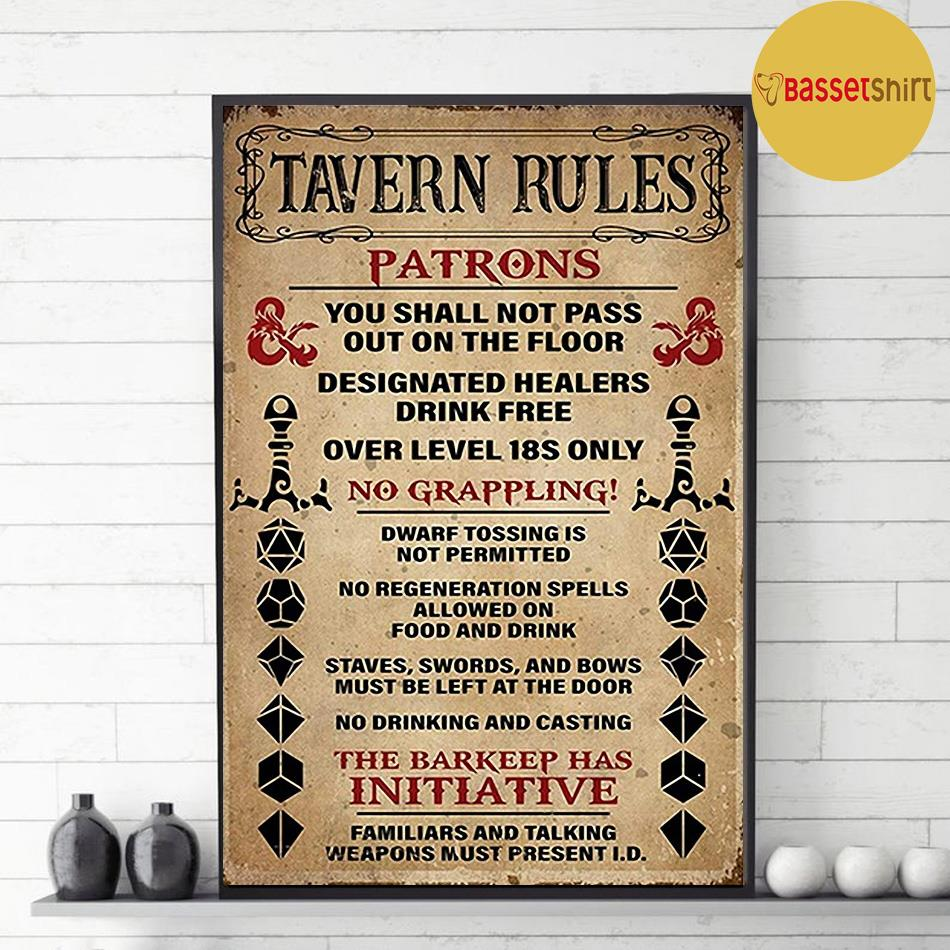 Tavern Rules Patrons poster canvas decor