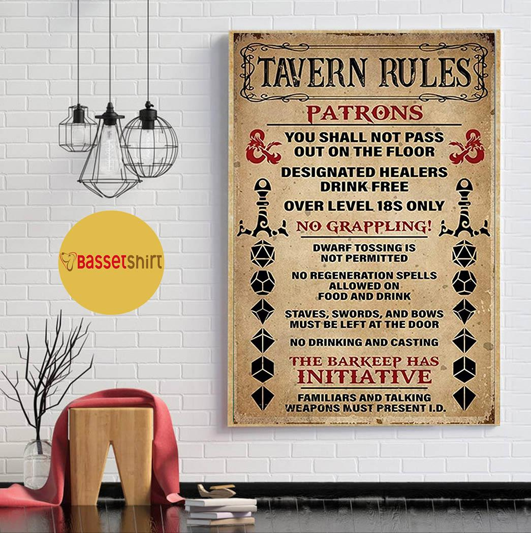 Tavern Rules Patrons poster canvas