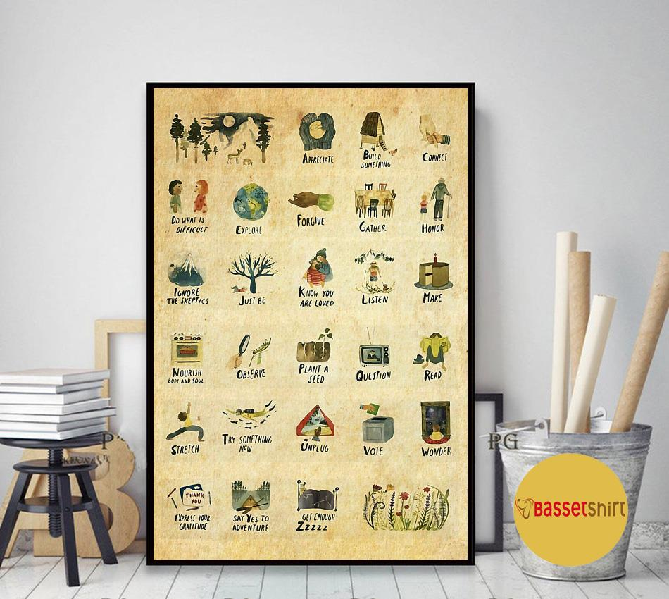 Things to do vertical poster art decor