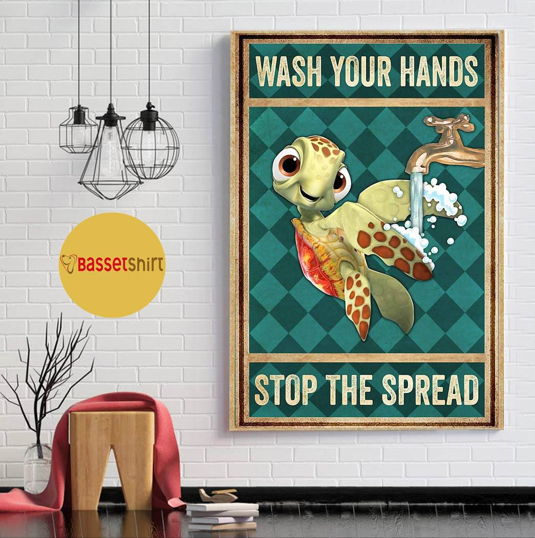 Turtle wash your hands stop the spread poster