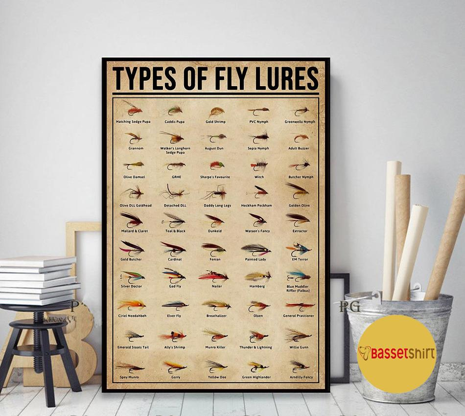 Types Of Fly Lures poster canvas art decor